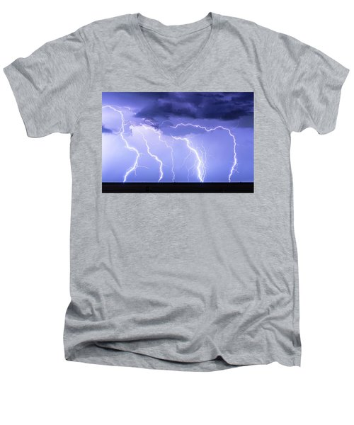 Lightning On The Plains Men's V-Neck T-Shirt