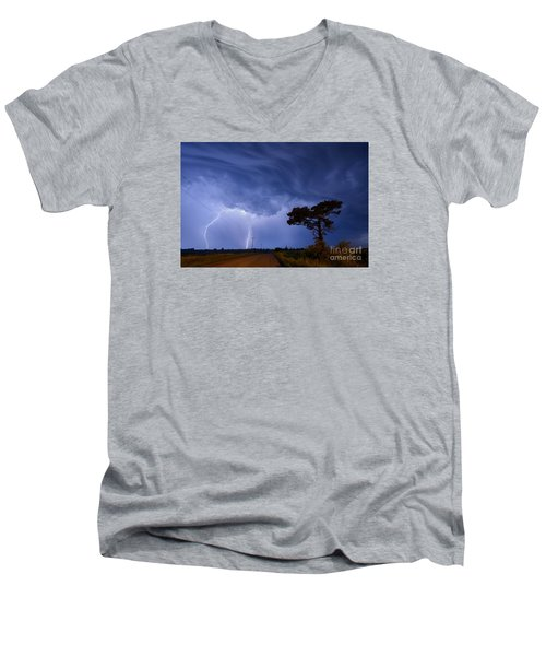 Lightning Storm On A Lonely Country Road Men's V-Neck T-Shirt by Art Whitton
