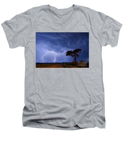 Lightning Storm On A Lonely Country Road Men's V-Neck T-Shirt