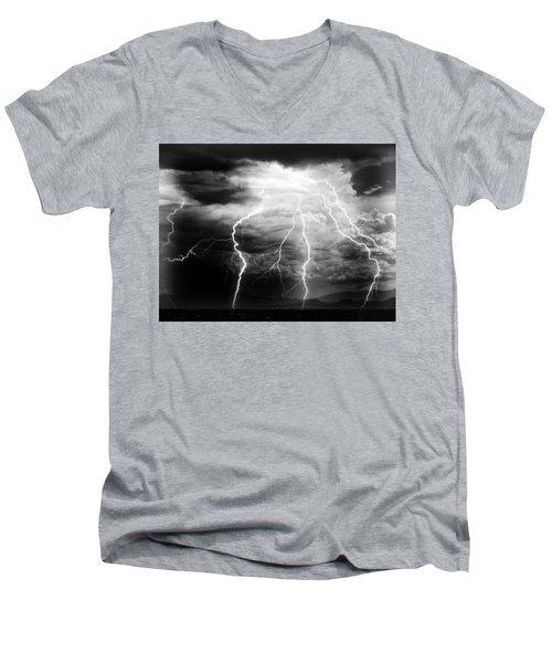 Men's V-Neck T-Shirt featuring the photograph Lightning Storm Over The Plains by Joseph Frank Baraba