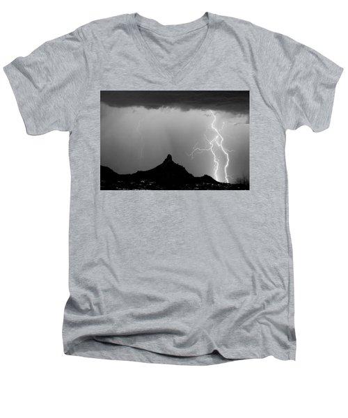 Lightning Thunderstorm At Pinnacle Peak Bw Men's V-Neck T-Shirt