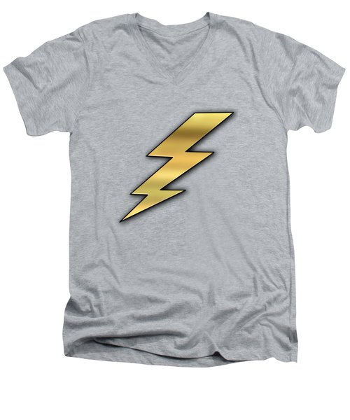 Men's V-Neck T-Shirt featuring the digital art Lightning Transparent by Chuck Staley