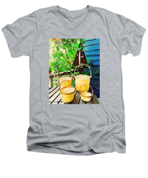 Lightship Baskets And Old Sailboat Windvane Men's V-Neck T-Shirt by Melissa Abbott
