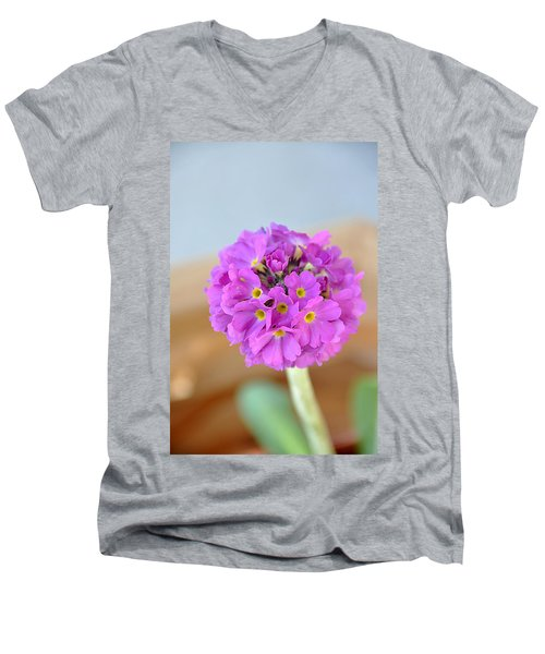 Single Pink Flower Men's V-Neck T-Shirt by Marion McCristall