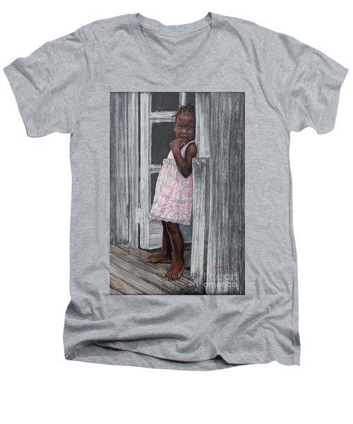 Lil' Girl In Pink Men's V-Neck T-Shirt
