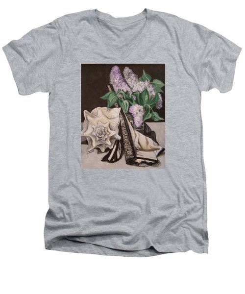 Men's V-Neck T-Shirt featuring the painting Lilac And Lingerie by Laura Aceto