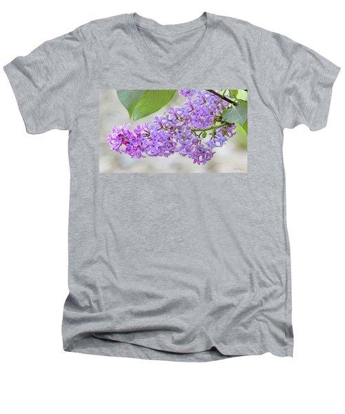 Lilac Cluster Men's V-Neck T-Shirt by Skip Tribby