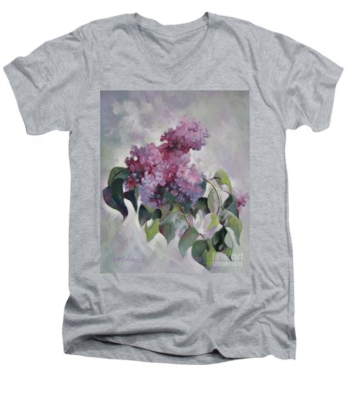 Men's V-Neck T-Shirt featuring the painting Lilac by Elena Oleniuc