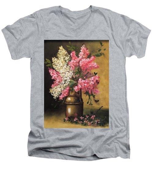 Lilacs Men's V-Neck T-Shirt by Sharon Schultz