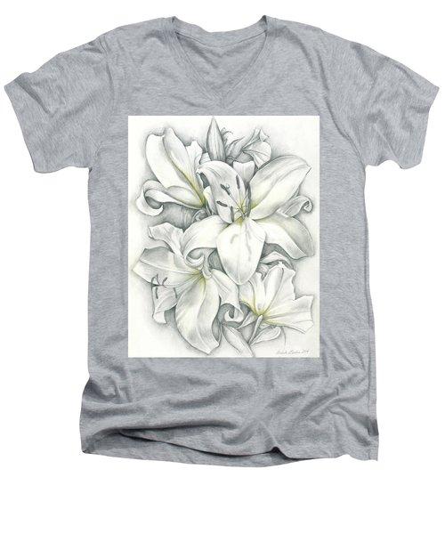 Lilies Pencil Men's V-Neck T-Shirt