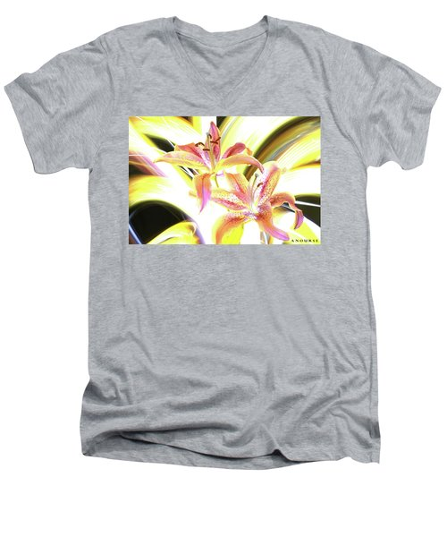 Lily Burst Men's V-Neck T-Shirt by Andrew Nourse