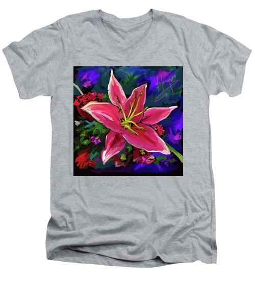 Men's V-Neck T-Shirt featuring the painting Lily by DC Langer