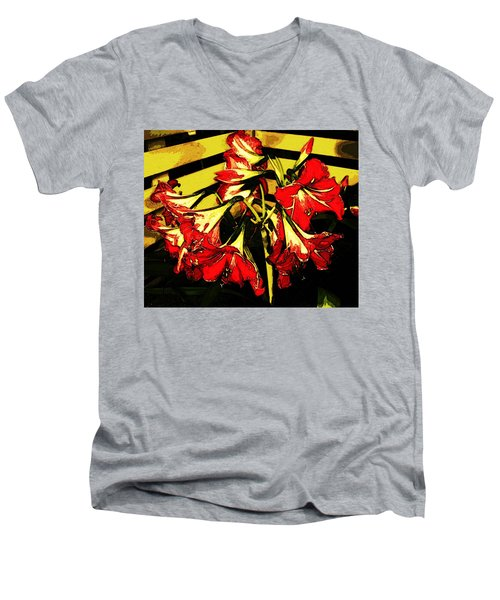 Men's V-Neck T-Shirt featuring the digital art Lily Gem by Winsome Gunning