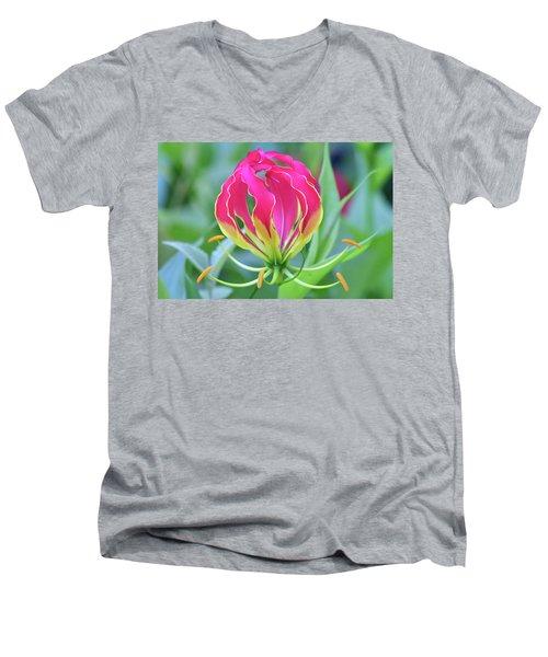 Lily In Flames Men's V-Neck T-Shirt