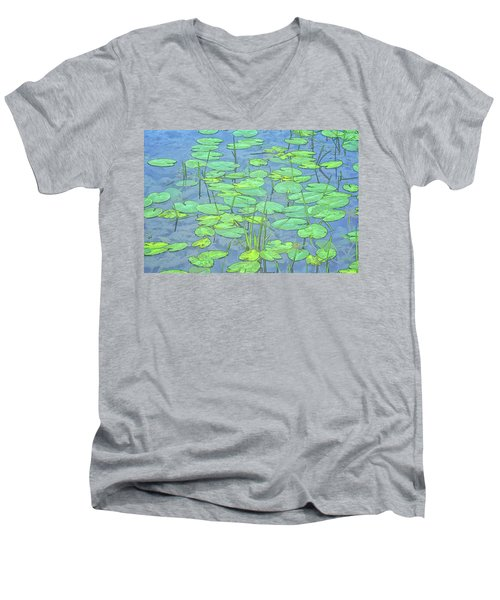 Lily Pads -coloring Book Effect Men's V-Neck T-Shirt by Constantine Gregory