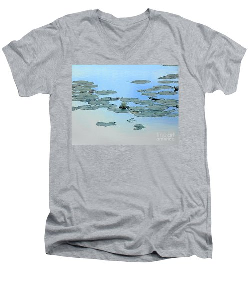 Lily Pond Men's V-Neck T-Shirt by Daun Soden-Greene