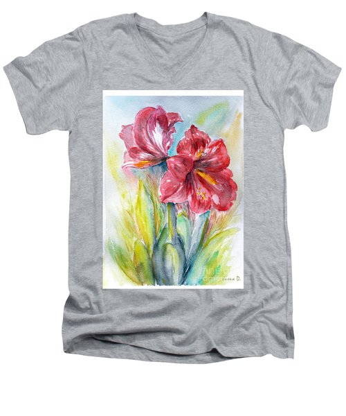 Men's V-Neck T-Shirt featuring the painting Lily Red by Jasna Dragun