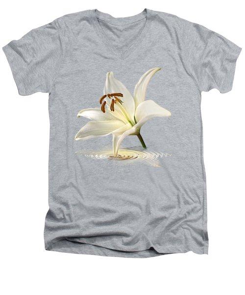 Lily Trumpet Men's V-Neck T-Shirt by Gill Billington