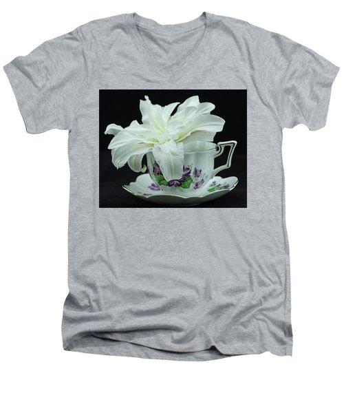Lily With Teacup Men's V-Neck T-Shirt