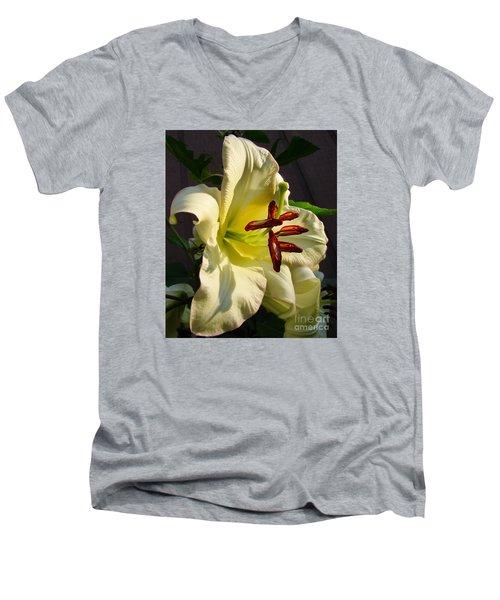 Lily's Morning Men's V-Neck T-Shirt by Pamela Clements