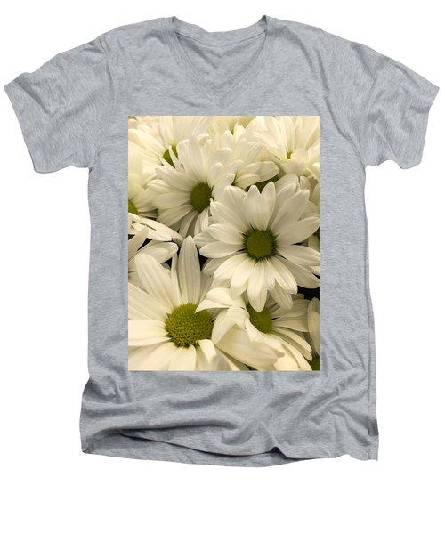 Lime Center Men's V-Neck T-Shirt by Arlene Carmel