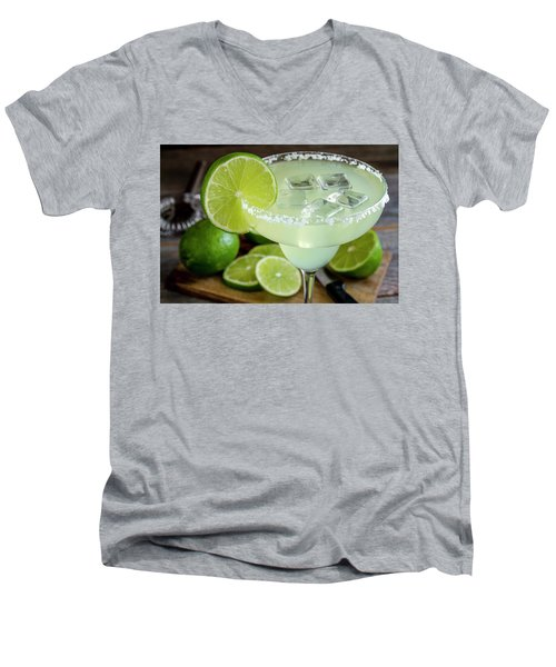 Men's V-Neck T-Shirt featuring the photograph Lime Margarita Drink by Teri Virbickis