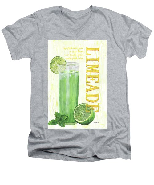 Men's V-Neck T-Shirt featuring the painting Limeade by Debbie DeWitt