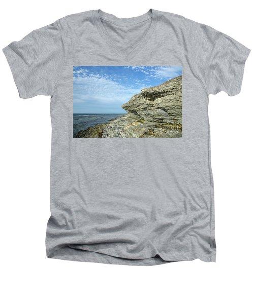 Men's V-Neck T-Shirt featuring the photograph Limestone Cliffs by Kennerth and Birgitta Kullman