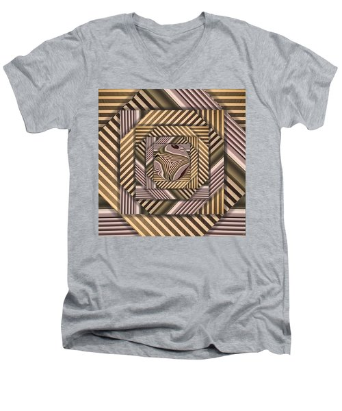 Line Geometry Men's V-Neck T-Shirt by Ron Bissett