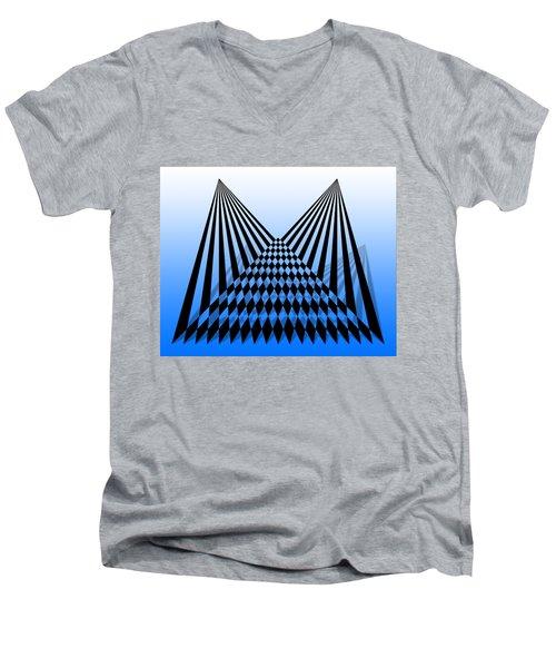 Line Overlapping T-shirt Men's V-Neck T-Shirt