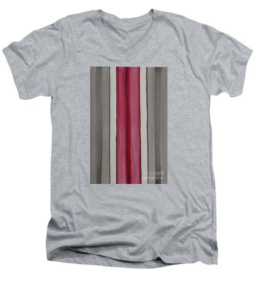 Men's V-Neck T-Shirt featuring the painting Lines by Jacqueline Athmann