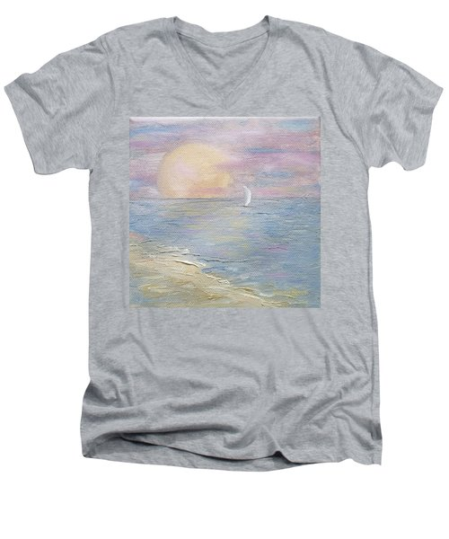 Men's V-Neck T-Shirt featuring the painting Lingering Freedom by Judith Rhue