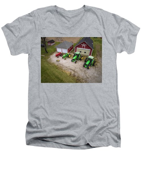 Lining Up The Tractors Men's V-Neck T-Shirt