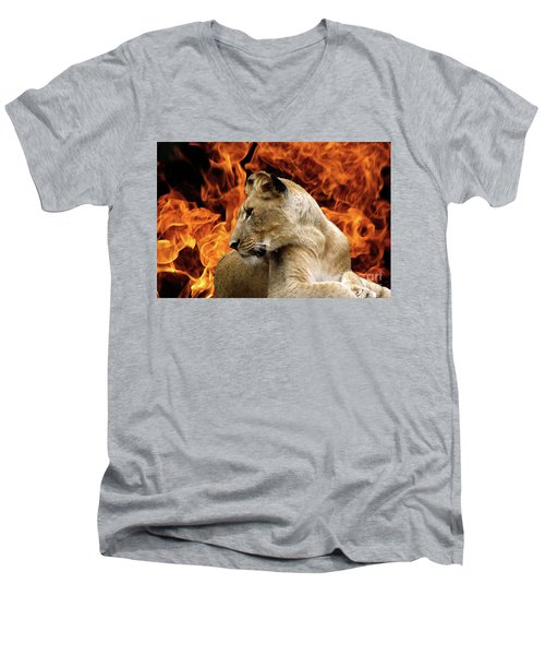 Lion And Fire Men's V-Neck T-Shirt by Inspirational Photo Creations Audrey Woods