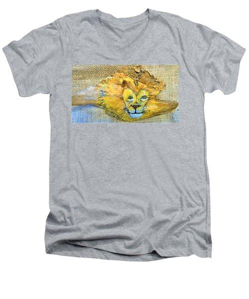 Lion Men's V-Neck T-Shirt by Ann Michelle Swadener