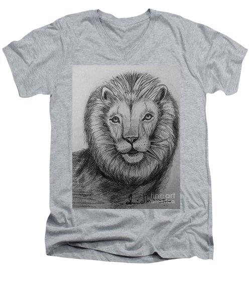 Men's V-Neck T-Shirt featuring the painting Lion by Brindha Naveen
