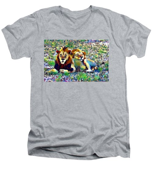 Lion Buddies Men's V-Neck T-Shirt