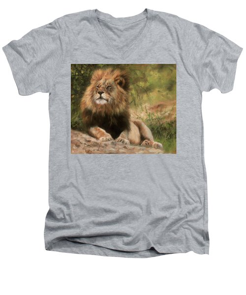Men's V-Neck T-Shirt featuring the painting Lion Resting by David Stribbling