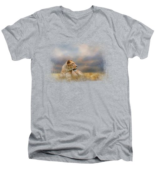 Lioness After The Storm Men's V-Neck T-Shirt by Jai Johnson