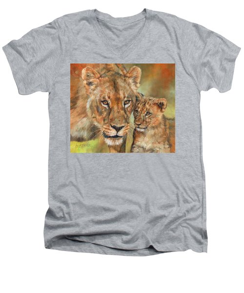 Men's V-Neck T-Shirt featuring the painting Lioness And Cub by David Stribbling