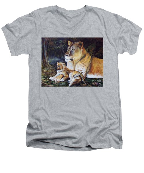 Lioness And Cub Men's V-Neck T-Shirt by Ruanna Sion Shadd a'Dann'l Yoder