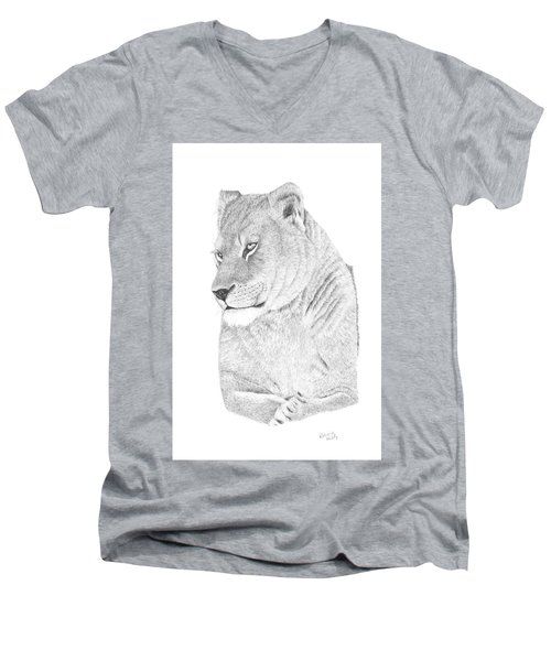 Men's V-Neck T-Shirt featuring the drawing Lioness by Patricia Hiltz