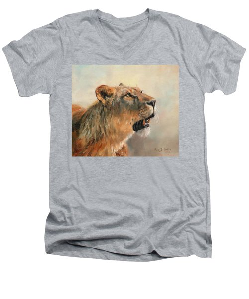 Men's V-Neck T-Shirt featuring the painting Lioness Portrait 2 by David Stribbling