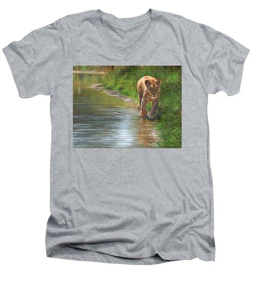 Lioness. Water's Edge Men's V-Neck T-Shirt by David Stribbling