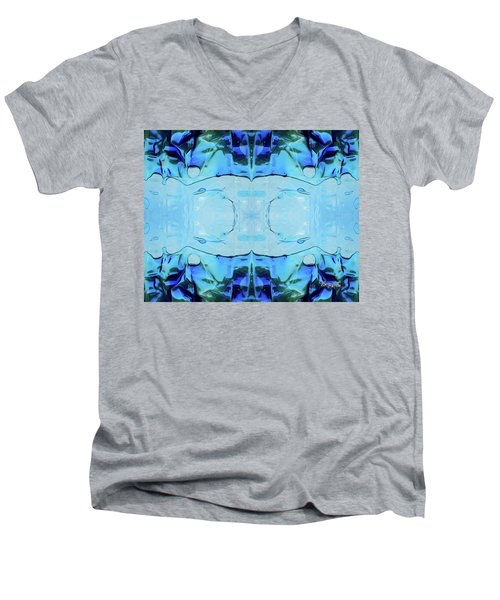 Men's V-Neck T-Shirt featuring the digital art Liquid Abstract  #0059-2 by Barbara Tristan
