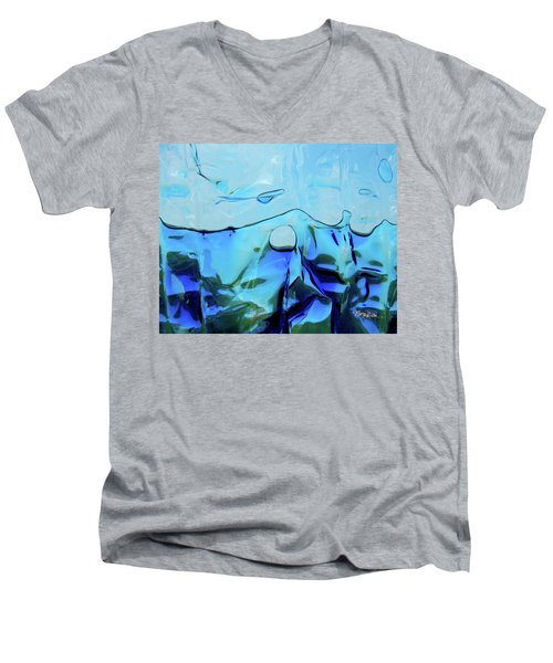 Men's V-Neck T-Shirt featuring the photograph Liquid Abstract  #0059 by Barbara Tristan