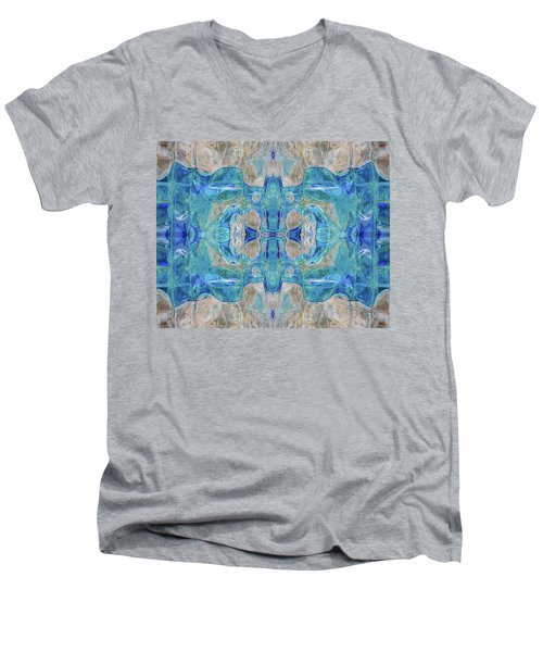 Men's V-Neck T-Shirt featuring the digital art Liquid Abstract  #0060-1 by Barbara Tristan