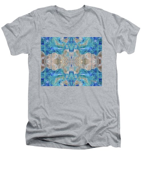 Men's V-Neck T-Shirt featuring the digital art Liquid Abstract  #0060-2 by Barbara Tristan