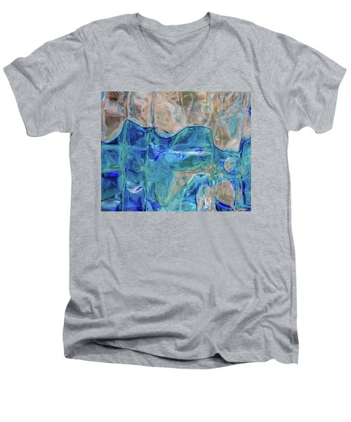 Men's V-Neck T-Shirt featuring the photograph Liquid Abstract  #0060 by Barbara Tristan