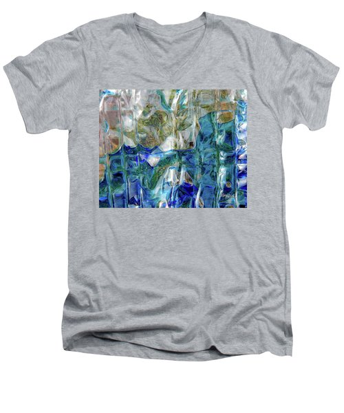 Men's V-Neck T-Shirt featuring the photograph Liquid Abstract #0061 by Barbara Tristan